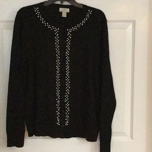 Loft Cardigan Sweater Size XL Black w/Pearls